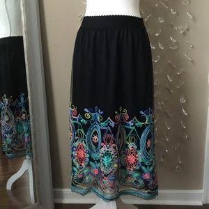 NWOT Magic Brightly Embroidered Midi Skirt
